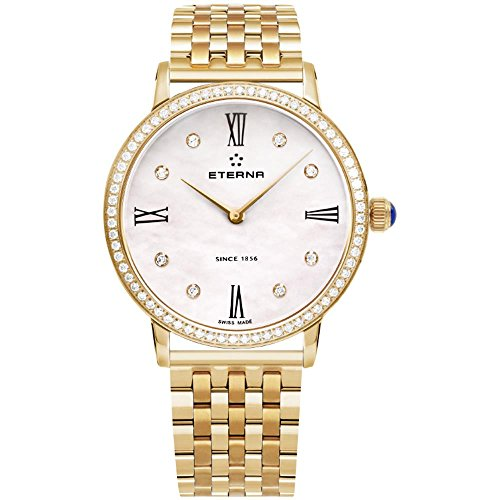 Eterna Eternity Lady Quartz Uhr, ETA 956.412, Roségold, PVD, 32mm, Diamanten