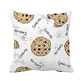 Throw Pillow Cover Beige Doodle Cookies Pattern Sketch on Light Chocolate Chip Funda de Almohada Funda de Almohada Cuadrada Decorativa para el hogar Funda de cojín