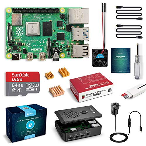 LABISTS Raspberry Pi 4 Complete Starter Kit with Pi 4 Model B 4GB RAM Board, 64GB Micro SD Card Preloaded Noobs, 5V 3A…>