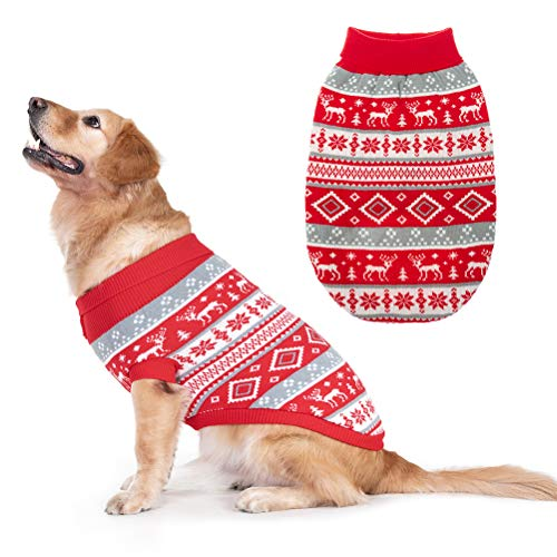 Christmas Snowflake Turtleneck Dog Sweater - Cute Pullover Pet Knitwear Cold Weather Clothes Outfit for Cats & Dogs