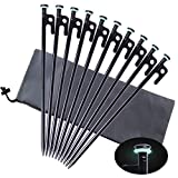 Yiliaw Tent Stakes, Heavy Duty Camping Stakes 8-Inch Forged Steel Tent Pegs...