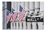 New York City, New York - Wall Street & American Flags 9006118 (Premium 500 Piece Jigsaw Puzzle for Adults, 13x19, Made in USA!)