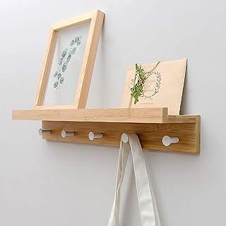 Étagère murale et crochet en bambou - Étagère supérieure flottante pour le rangement du couloir, de la salle de bain, du s...