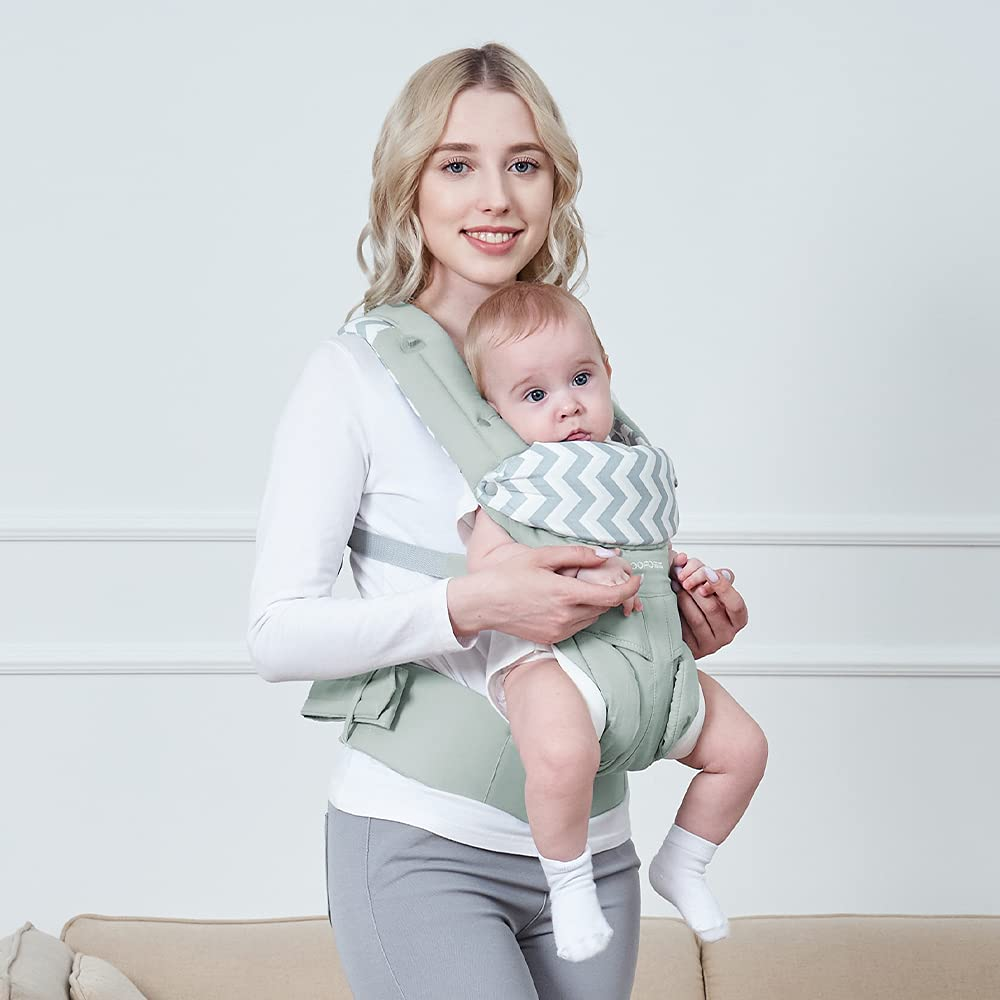 Yoofoss Baby Carrier Newborn to Toddler with Lumbar Support Windproof Cap All Seasons for Toddlers 12-32 lbs Green
