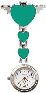 Niome Cute Love Heart Nurse Pocket Watch Quartz Clip-on Fob Brooch Women Nurse Watches