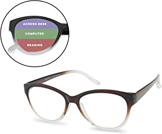 1c378d156c8d SunglassUP 3 in 1 Multi Focus Advanced Reading Cat Eye Glasses Three  Prescription Powers in One