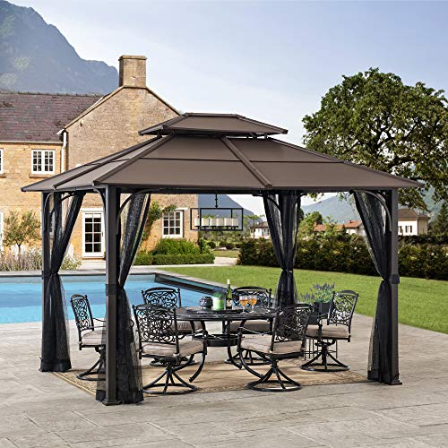 Sunjoy A102009100 Lindsay 10x12 ft. Steel Gazebo with 2-Tier Hip Roof Hardtop, Brown