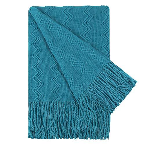PiccoCasa Kuscheldecke Fransen Tagesdecke Weiche Leichte mit Wellenmuster aus Acryl 130x150cm als Bettüberwurf Sofadecke Couchdecke für Haus Couch, Bett, Sofa, Reise usw. Blaugrün