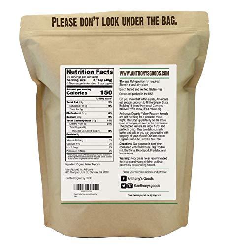 Product Image 3: Anthony's Organic Yellow Popcorn Kernels, 3 lb, UnPopped, Gluten Free, Non GMO