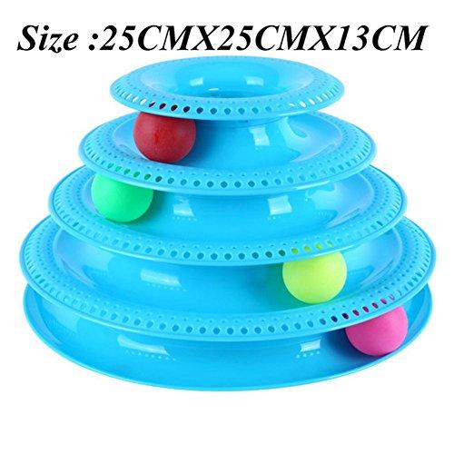 Ocamo 4-Schicht lustige Katze Crazy Ball Disk Pet interaktive Spielzeuge Unterhaltung Platte Spielen Disc Turntable Cat Toy Blue
