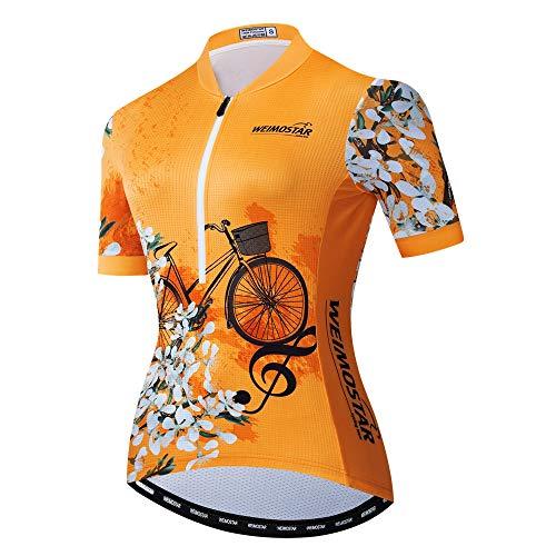 Weimostar Bike Trikot Damen Radtrikot Half Zipper MTB Tops Bekleidung Mountain Road Fahrradbekleidung atmungsaktiv Biker Racing Shirts für Damen Damen Fahrradbekleidung Sommer Orange L