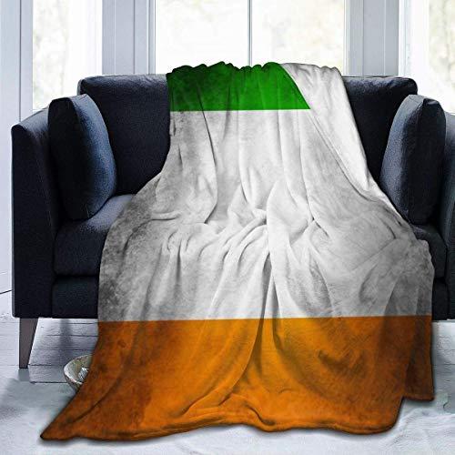 Rcivdkem Shaggy Blanket Throw, copridivano in micropile, motivo a strisce, stile retrò, bandiera irlandese per uomini e donne, coperta in flanella per S