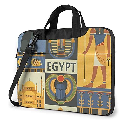 Laptop Shoulder Bag,Ancient Egypt Tribe Series Shockproof Laptop Sleeve Cover Business Messenger Bag Briefcase Handbag Case 13/14/15.6 inch