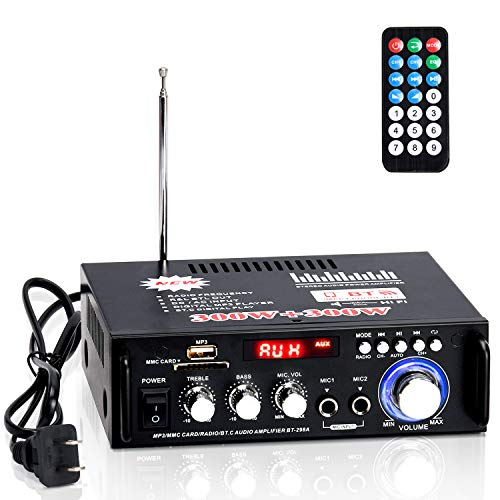 Facmogu 298A Wireless Bluetooth 5.0 Stereo Audio Amplifier, 300W+300W Dual Channel Power Sound Receiver w/USB, SD Card, FM Radio for Home Speakers & Theater System with Remote Controller - US Plug