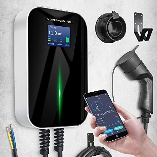 Morec Cargador ev Tipo 2 11kW 16A trifásico con App Compatible con conexión Bluetooth y WiFi estación de Carga ev IEC 62196-2 Enchufe estándar