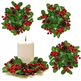 Gift Boutique Christmas Pillar Candle Ring Decorative Pine Set of 4, Holiday Centerpiece Festive Pillar Candle Holder - Holiday Table Party Ornament for Home Decor