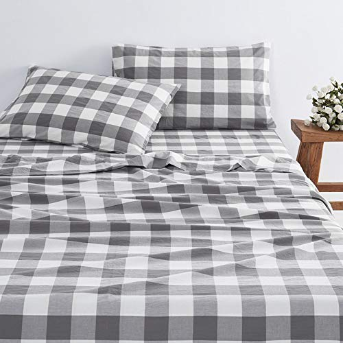 Wake In Cloud - Gray Plaid Sheet Set, 100% Washed Cotton...