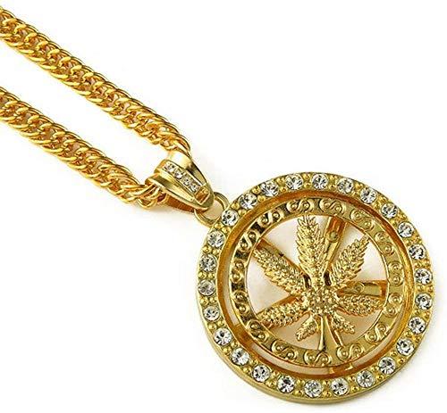 MNMXW Anillo de aleación, Marihuana, Hojas de Cannabis, Malas Hierbas, Diamantes de imitación, Collar con Colgante Dorado con 35Cadenas
