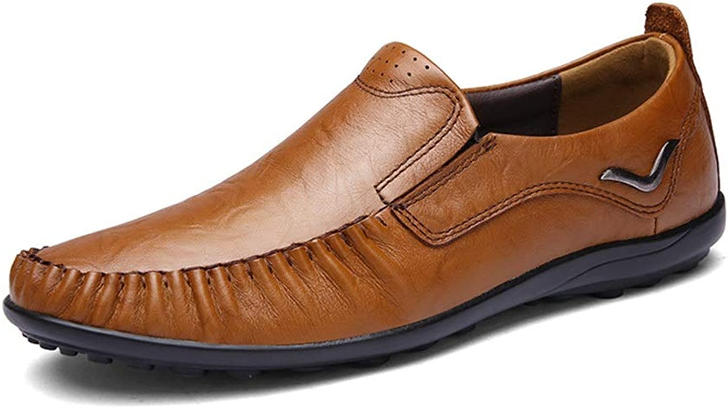 Casual shoes Leather Men's Peas shoes Lazy shoes Lightweight Driving shoes (color   Dark Brown, Size   45)