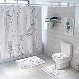 ETOPARS Marmor Textur Bad Duschvorhang Teppich Set 4 Stück Weiche und rutschfeste Badematte, U-förmiger Kontur Teppich, Toilettendeckelabdeckung 72 x 72 Zoll, Marmor Textur 01