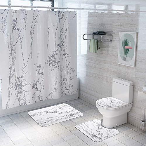 ETOPARS Marmor Textur Bad Duschvorhang Teppich Set 4 Stück Weiche & rutschfeste Badematte, U-förmiger Kontur Teppich, Toilettendeckelabdeckung 72 x 72 Zoll, Marmor Textur 01