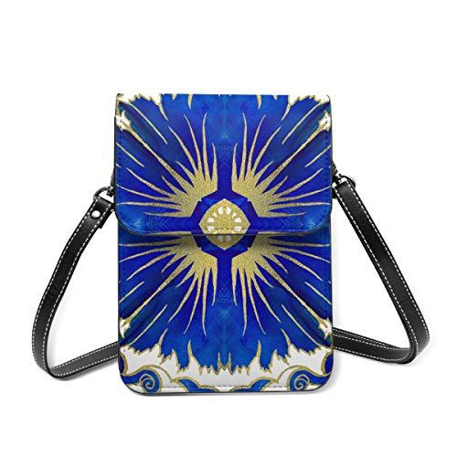 Azulejos Portugiesische Fliesen Crossbody Handytasche Tasche Leder Handtasche Kartenfächer Brieftasche Handy Tasche Baggap Clutch