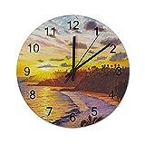 Reloj de Pared ,Laguna Beach California Laguna Vill, Relojes de Pared Digitales de Madera Que no Hacen tictac, Funcionan con Pilas, decoración Sala de Estar, Dormitorio, Aula, Oficina (12 Pulgadas).