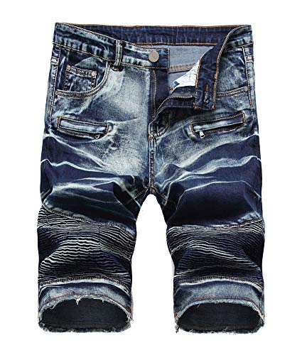 Atditama Men's Casual Cotton Ripped Broken Destroyed Holes Denim Shorts