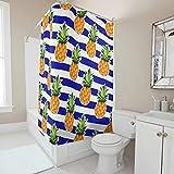 Sweet Luck Blau Weiß Streifen Ananas Duschvorhang Anti-Schimmel Wasserdicht Waschbar Stoff Vorhang Polyester Textil Badvorhang mit Duschvorhängeringen für Dusche White 180x200cm