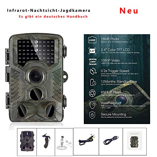 Camera 16MP 1080P Wildlife Camera, Night Detection Camera with 46 850nm IR LEDs, Time Lapse, Timer, 2.4