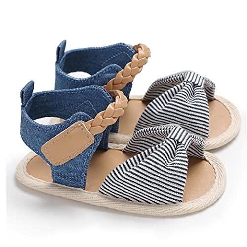 Yililay la niña del Arco Encantador Sandalias Lienzo Abierto del Dedo del pie Antideslizante de Suelas de Zapatos de Verano para bebés 3-6M Raya