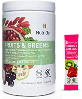 Nutri-Dyn Dynamic Fruits and Greens Powder, Certified Organic Fruits and Vegetables, 50 Superfoods, 10.8 Ounce, Includes S...
