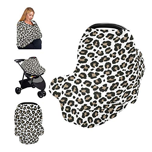 9CH Leopard Baby Car Seat Covers Nursing Cover Soft Breastfeeding Scarf Cover Canopy Infant Stroller Cover for Infants Babies Nursing Cover Apron, Baby Shower Gifts for Boy&Girl