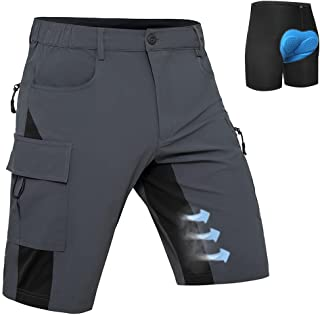 Men's Mountain Bike Shorts 3D Padded MTB Shorts Baggy Cycling Shorts Loose Fit Lightweight Quick...