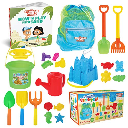 THE STORYBOOK KIDS EXPLORERS CLUB Beach Toys - 23-Piece Sandbox Toys Set for Toddlers - Sandcastle Building Kit of Shovels, Molds, Bucket & Pail in...