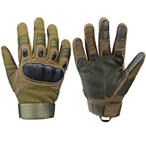 Xnuoyo Gomma Dura Knuckle Full Finger e Mezza Finger Gloves Guanti di Protezione Touch Screen Guanti per Moto Ciclismo Caccia Arrampicata Camping (Army Green, Large)