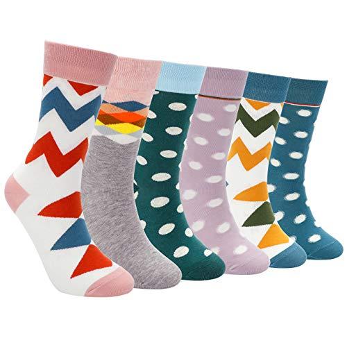 EXTSUD 6 Paar Damen Socken aus Baumwolle Bunte Strümpfe Jugendliche Farbige Anzugsocken Perfeckt für Damen Mädchen Größe: 35-42 schulmäßig Stil