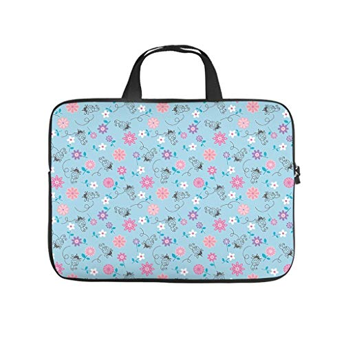 Flower Plants and Bee Animals Laptop Bag Scratch Resistant Laptop Protective Bag Pattern Notebook Bag for University Work Business