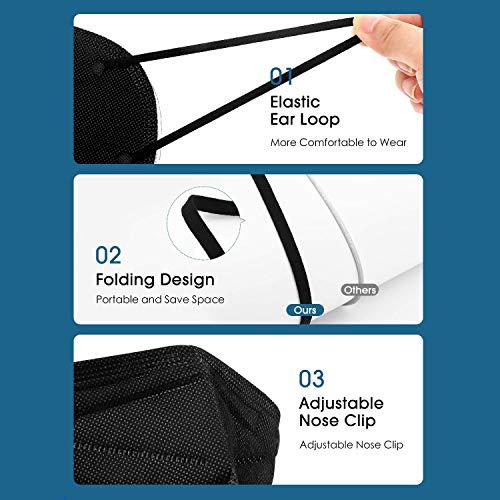 25 × FFP2 Maske Schwarz, Atemschutzmaske FFP2 Schwarz CE Zertifiziert Individuelles Paket mit 5 Schutzschichten