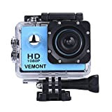 Vemont Action Camera 1080P 12MP Sports Camera Full HD 2.0 Inch Action Cam 30m/98ft Underwater Waterproof Camera with Mounting Accessories Kit (Blue)