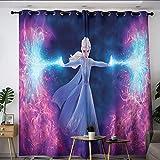 Frozen Elsa - Cortinas opacas con aislamiento térmico y ojales para decoración de aislamiento térmico (55 x 45 cm)