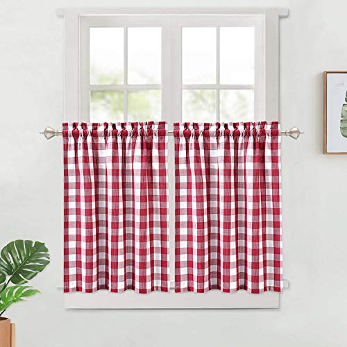 LinTimes Buffalo Check Tier Vorhänge, Plaid Red Gingham Rod Pocket Kurze Fenster drapieren für Küche Cafe Vorhänge Bad Fenstervorhänge, 2 Panels, rot, 28x30 Zoll