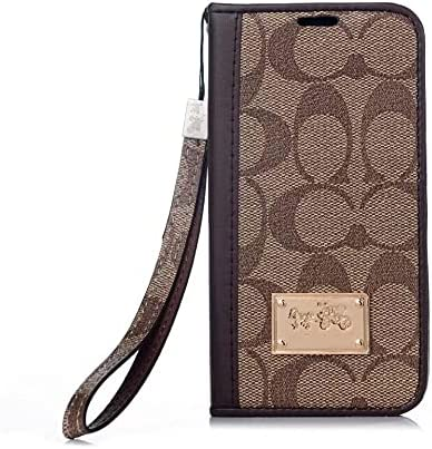 Designer for iPhone 12 Pro Max Wallet Case, Luxury Premium Leather Shockproof Magnetic Closure Flip Case Cover with Card Holder Slots and Wrist Strap Fit for iPhone 12 Pro Max 6.7 inch (Brown)