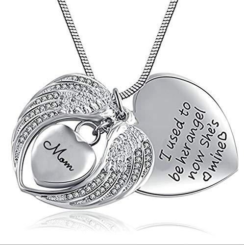 HIUYOO Colgante Cenizas Mujer Collar Mujer Acero Collar de Luna Colgante de Corazón de Alas de Ángel Colgantes Cenizas Plata