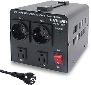 Yinleader 1500VA - Transformador Elevador/Reductor de Voltaje de 1500 Vatios EE.UU. - Convertidor de Energía de 220 Voltios - 220V / 110V 1500W Estabilizador de Voltaje automático