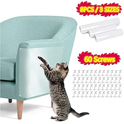 BUYGOO 8Pcs Cat Scratch Guard Furniture Protector Self Adhesive Cat Scratch Protector for Sofa Furniture Upholstered Chair, Flexible Clear Cat Furniture Guard with Pins(3 Sizes) by BUYGOO