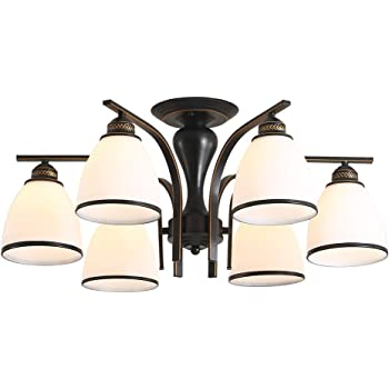 "26"" Contemporary 6-Light Chandelier for Dining Room, Kitchen Black Chandeliers with Glass Shades, Bronze lamp arm (6 12W Bulbs Included)Suitable for Dining Room, Bedroom, Living Room"