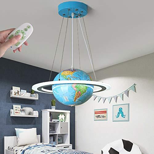 WANG-LIGHT Cartoon Planet LED Kinderzimmer Pendelleuchte Dimmbar Mit Fernbedienung, Kinder Mädchen Junge Schlafzimmer Kronleuchter Pendellampe Hängelampe, Rund Globus Design,Blau,50cm/19.6in