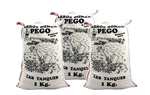 Bomba Reis aus Spanien 3 x 1 KG - Premium Rundkornreis - für Paella, Risotto.... - Anbau im geschützten Naturpark Marjal - von Pego Natura, Größe:1 Kg