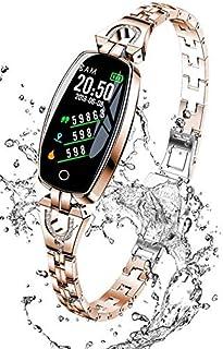 WUAZ Pulsera Inteligente, Monitor de sueño de Ritmo cardíaco Reloj Inteligente a Prueba de Agua Reloj Pantalla a Color Pulsera de Fitness Acero Inoxidable con Banda Inteligente Presión Arterial,Oro